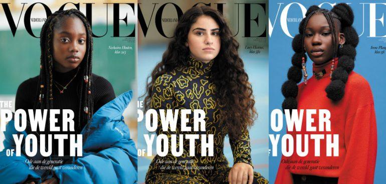 Cover vogue NL oktober 2020 met 3 scholieren uit de Bijlmer