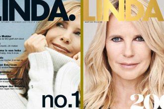 De eerste cover van LINDA uit 2003 en de 200ste cover van februari 2021. Zal Linda de Mol altijd op de cover blijven staan?